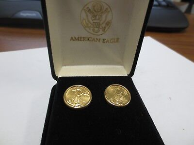 United States Mint 1998 1/10 ozt Gold American Eagles Mounted in 14KT Solid Gold