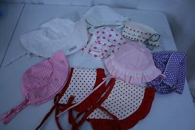 9 Girls Summer Hats Cotton Pink polka Dot PLACE White Eyelet FLAP HAPPY + Vintag