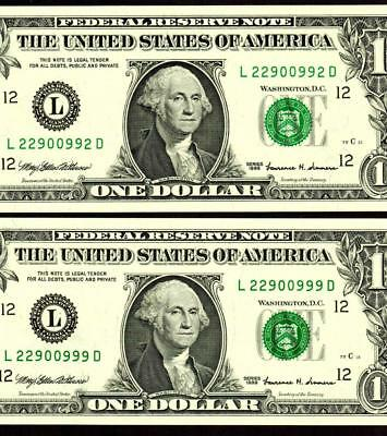 $1 1999 TWO UNIQUE  SERIAL NUMBERS ::: Federal Reserve Note **