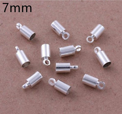100Pcs Silver Plated Barrel Bead Leather Cord Ends Caps Findings  3 4 6 7mm