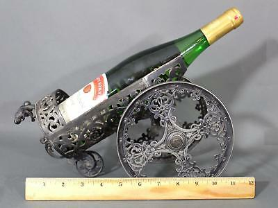 RARE Antique 19thC French Decorative Wine Bottle Silverplate Chariot Cart Wheels