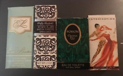 4 VINTAGE PERFUMES-POISON-TORTUE-YOUTH DEW- INTOXICATION with Boxes