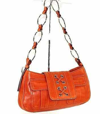 62bd6a1ca3bc YSL Yves Saint Laurent Orange Patent Leather Gold Ring Chain Strap Shoulder  Bag