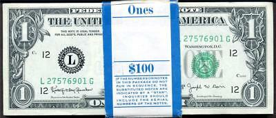 HGR FR#1902-L 1963B $1 Barr Notes ((100 Pack Consec#)) GEM UNCIRCULATED