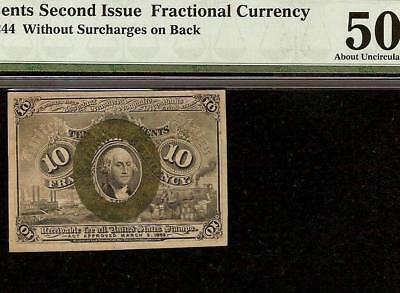 10 CENT FRACTIONAL CURRENCY POSTAGE NOTE 1863-1867 PAPER MONEY Fr 1244 PMG 50