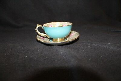 Vintage Paragon TEAL Cup & Saucer  Pink Roses & Gold HM The Queen & Queen Mary