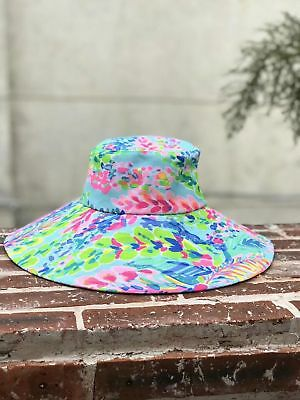 New Lilly Pulitzer Beach Hat Multicolor Sunhat Catch The Wave Floppy Fabric