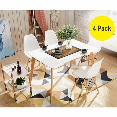 2/4 Eames Eiffel DSW Chairs Retro Dining Office Lounge Chair White High Quality