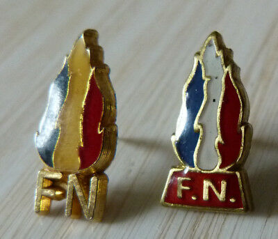 Lot 2 Pin's Politique Fn Frond National Flamme Bleu Blanc Rouge