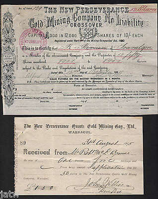 Share Scrip - Gold Mining. 1895 New Perseverance Gold Mining Co - Crossover Vic