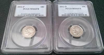 USA 2012 - D and 2012 - P 10c PCGS MS66FB Roosevelt Dime Coins x 2 in Holders