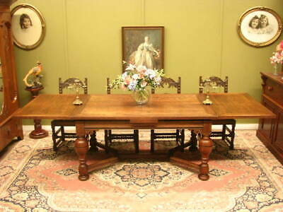 Vintage Oak Extension Draw Leaf Dining Table ~ Lovely Character, Seats Up To 10