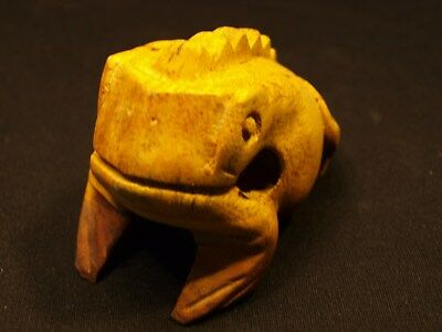 Tribal ? Antique / Vintage Carved Colorized Wood Hollow Frog / Toad Figurine EXC