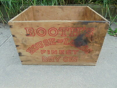 Vintage Booth's House Of Lords Finest Dry Gin Of London Wood Crate Box