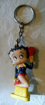 Vintage Betty Boop USA Keychain 1995 Hearst Corp. Dressed In Americana Outfit