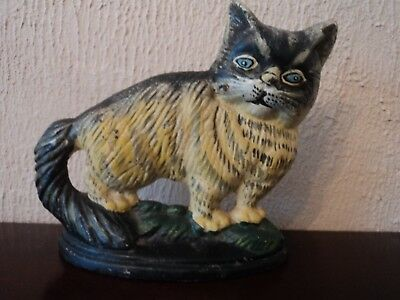Vintage Hand Painted/crafted Cast Metal Cat/kitten Door Stop/wedge - Lovely & VINTAGE HAND Painted/crafted Cast Metal Cat/kitten Door Stop/wedge ...