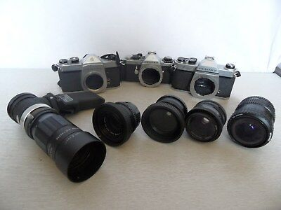 Collection of 3 Vintage Pentax SLR Cameras and 5 Lenses