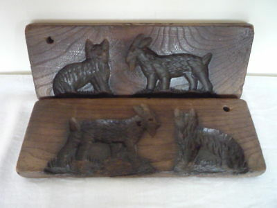 Antique Carved Goat Cat 2 Part Butter Print Stamp Mold Mould Treen Kitchenalia