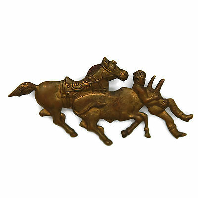 Vintage Bull Riding Pin Rodeo Cowboy Steer Horse Collectible Metal Pin Brooch