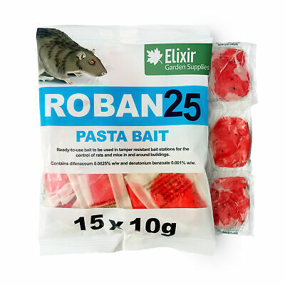 Elixir Gardens Roban 25 Pasta Bait Rat & Mouse Poison/Killer Bait Paste