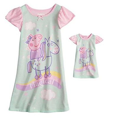 Intimo Peppa Pig Toddler Girls Nightgown and Matching Doll Gown Nightgown