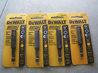 "DEWALT DW2221IR Impact Ready Magnetic 1/4"" Nut Drivers (4 Pack) New"