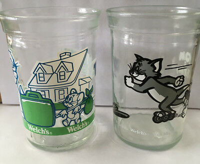 2 Welch's Tom And Jerry Collectible Jelly Jar Glasses (1990 & 1993)