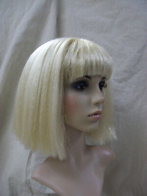 Blonde Coquette Wig Blunt Bob w/ Bangs Albino Egyptian Queen of Nile 70s Mod Gal