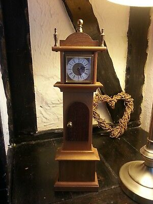 Vintage 42cm Tall Wooden Wind Up Grandfather Clock