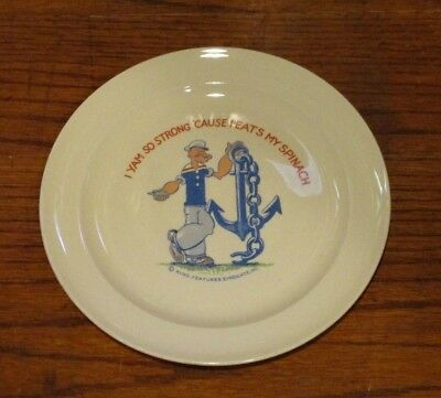 """Rare Vintage Tst King Features Popeye The Sailor Man Plate - 7 1/4"""""""