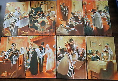 JUDAICA Artist SEEBERGER  SERIES of 8 Vintage SILK PRINT Postcards  MINT UNUSED