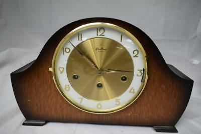 Vintage Bentima 8 Day Chiming Wooden Mantel Clock w keys 36cm long by 23cm high