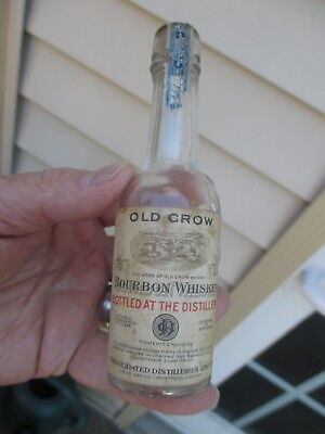 1927 Sample Size Old Crow Bourbon Whiskey Full Label, Cork Factory Graphics