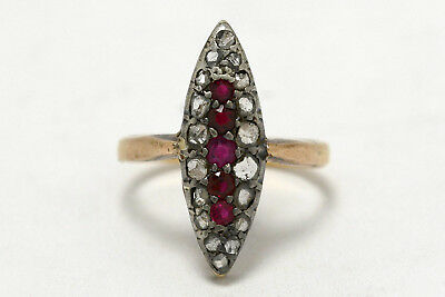Antique 1800s Victorian Ruby Diamond Navette Oval Dinner Ring Silver Rose Gold