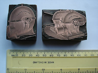 Antique Copper Faced Printing Blocks TURBINES Sayers Patent