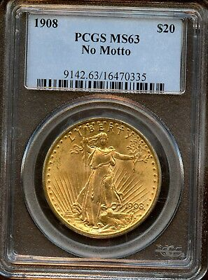 1908 PCGS MS 63 No Motto $20 St. Gaudens Double Eagle Gold Coin AB788