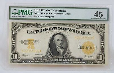 Large 1922 $10 Dollar Bill Gold Certificate Note PMG 45 Choice Extremely Fine