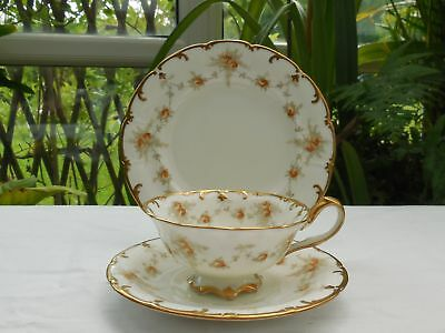 Antique Cauldon Brown Westhead & Moore Rose Cup & Plate Trio c1862-1904