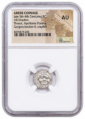Greek Colony Apollonia Pontica, Silver Drachm - Late 5th-4th BC NGC AU SKU53776