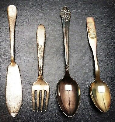Vintage Lot of 4x Silver Plated Flatware - Butter Knife, Fork, 2x Spoons