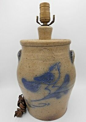 Vintage 1984 Rowe Pottery Salt Glazed Crock Table Lamp Cobalt Blue Bird Exc!