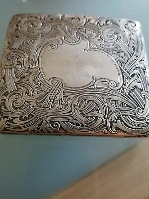 Antique Solid Sterling Silver Cigarette Case Box loook no reserve