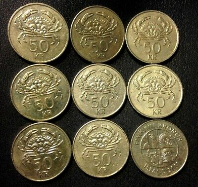 OLD ICELAND COIN LOT - 50 KRONUR - Crab Coin - 9 Coins - Lot #523