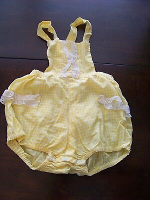 Vtg Rare Baby GIRL Gingham PLAID Lace RUFFLE ROMPER Playsuit 12-24 Months!