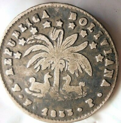 1853 BOLIVIA SOL - VERY RARE -High Quality Silver Coin - Lot #523