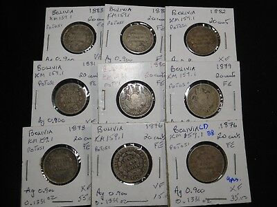 B8 Bolivia 20 Centavos Potosi Mint 1876 1878-1883 Group 9 pcs