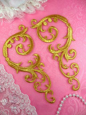 """Embroidered Appliques Gold Mirror Pair Iron On Patch Scroll Set 6.75"""" (GB401)"""