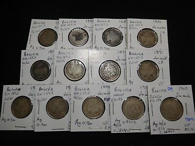 B9 Bolivia 20 Centavos 1888 1890 1891 1899 1900 1909 Group 13 pcs