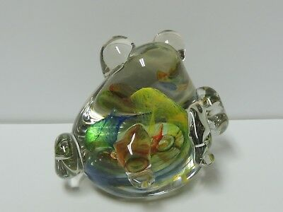 Art Glass Frog Paperweight Clear with Multi Color Swirls Inside