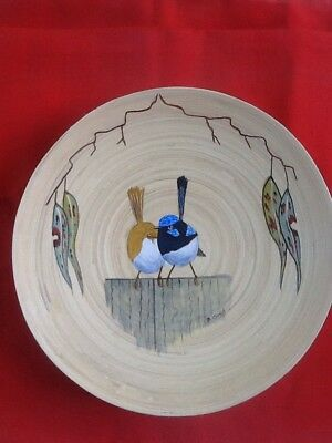 Blue Wrens Hand Painted On Wooden Bowls, Signed, Varnished, Ready To Hang